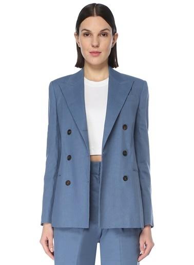 Brunello Cucinelli 101613968 Kırlangıç Yaka Uzun Kol Düğmeli 3 Cepli Kadın Ceket Mavi